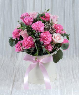 กล่องดอกกุหลาบสีชมพู