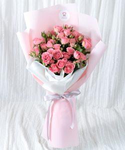 ช่อดอกกุหลาบพวงสีชมพูเต็มช่อ 30 ดอก