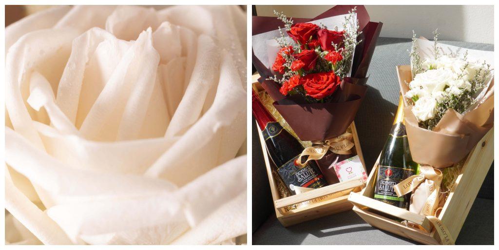 กระเช้าดอกไม้และเครื่องดื่ม ของขวัญสำหรับคนเลื่อนตำแหน่ง